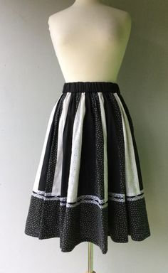 AUG SALE - Black and White Vintage Prairie Square Dancing Circle Skirt //  A personal favorite from my Etsy shop https://www.etsy.com/listing/482144927/aug-sale-1970s-handmade-black-and-white