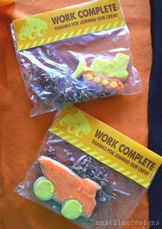a fun CONSTRUCTION THEMED BIRTHDAY PARTY- The Cookie Favors