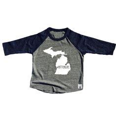 Toddler Baseball Tee Triblend Michigan Mitten Life Michigan Shirt by BirchBearCo on Etsy