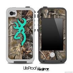 The Teal Camo Browning Skin for the iPhone 4/4s or by TheSkinDudes