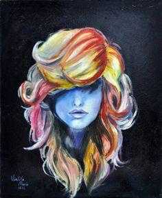 cette peinture nous montre les différents coups de pinceaux et couleurs pour illustrer ces cheveux. Il y'a aussi de l'emphase puisqu'au premier coup d'œil on remarque ces cheveux et pas forcément son visage.