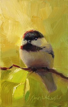 Chatty Chickadee - Cheeky Bird Art Print by Karen Whitworth. All prints are professionally printed, packaged, and shipped within 3 - 4 business days. Choose from multiple sizes and hundreds of frame and mat options. Bird Canvas, Guache, Animal Paintings, Bird Paintings On Canvas, Canvas Art, Wildlife Art, Bird Prints, Art Plastique, Bird Art