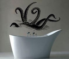 Octopus Tentacles Under The Sea Bathroom Wall Sticker WS-40798