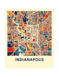 Indianapolis Map Print Full Color Map Poster by iLikeMaps on Etsy