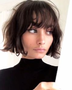Bob hairstyles are just as on trend as ever, so if you're yet to try one, why not make 2018 your year? From trendy French girl-inspired styles to layered, graduated bobs, see the array of different bob haircut options available here. Ready to join the sho Thin Hair Short Haircuts, Short Hair Cuts, Haircut Short, Layered Haircuts, Curly Haircuts, Bangs Short Hair, Blunt Bob With Bangs, Bob Haircut Bangs, Girls With Short Hair
