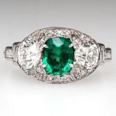 Art Deco Cushion Cut Emerald Engagement Ring w/Diamonds - 1920's