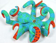 Oaxacan Wood Carving Whimsical Octopus by Saul Aragon Oaxaca ALEBRIJE |㊙️Octopus  : More Pins Like This At FOSTERGINGER @ Pinterest