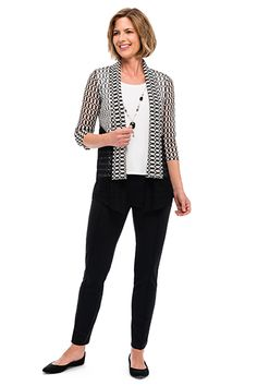 Alfred Dunner novelty spliced texture two for one top and ponte knit slim ankle pant #alfreddunner #blackandwhite #monochrome #outfit #fashion #style #blackpants #slimlegpants #anklelength #fall2015 #pants #necklace #twoforone