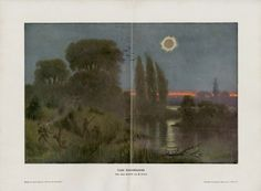Vintage Solar Eclipse Print C. 1900 Antique Lithograph - Country Landscape - Sunset, River, Trees - Wall Art, Home Decor, Gift Idea by AntiquePrintBoutique on Etsy
