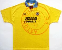 I also own one of these delightful items. Did Villa ever really play in this? Classic Football Shirts, Vintage Football Shirts, Aston Villa Fc, Retro Vintage, Soccer, Play, Mens Tops, Futbol, European Football