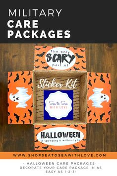 Halloween care packages are a great way to stay connected with your loved one during a military deployment. Visit here to check out hundreds of care package ideas and themes in Sea to Sea with Love's shop! If you are looking for an easy way to decorate your care package, then this is the shop for you! Get inspired to create your own DIY care package with sticker kits. You will love how easy they are to use. These are also perfect for college and long distance packages too! Care Package Decorating, Long Distance Packages, Halloween Care Packages, Deployment Care Packages, Military Deployment, Create Your Own, Etsy Seller, College, Packaging