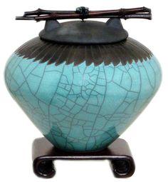 Feather  Raku Cremation Urn with wood by DoderoStudioCeramics, $250.00