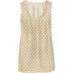 MICHAEL Michael Kors Polka-dot washed-silk tank ($105) ❤ liked on Polyvore