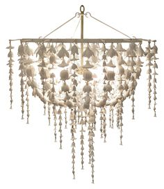 "Flowerfall Chandelier - Cast Resin w/Flower Detail; Includes Canopy & 3-Foot Chain *Four Bulbs Not to Exceed 60W  29.5""Diameter x 35.5""H"