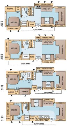 Jayco Greyhawk class C motorhome floorplans - large picture Class C Campers, Class C Rv, Jayco Travel Trailers, Do It Yourself Camper, Camper Flooring, Rv Floor Plans, Bus Living, Bus House, Mini Bus