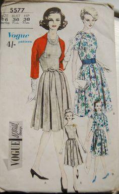 Vintage Vogue 1960s Sewing Pattern -Box Pleated Dress with Bolero -Size 16 | eBay