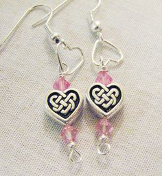 Valentines Day Earrings Heart Jewelry  Pink by Sew4Munchkins, $9.00