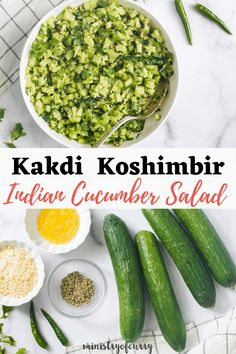 Easy Indian cucumber salad with earthy, rustic tempering of cumin seeds in ghee that is perfectly spiced with green chilies. Topped with ground peanuts and cilantro, this tasty kachumber is ready in just 10 mins. #ministryofcurry #indianrecipes #glutenfree #vegan #salad Indian Cucumber Salad, Indian Salads, Indian Dishes, Quick Soup Recipes, Curry Recipes, Easy Chicken Recipes, Healthy Indian Recipes, Delicious Vegan Recipes, Vegetarian Recipes