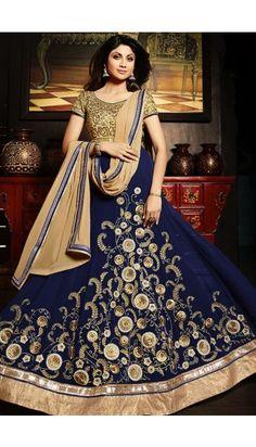 Shilpa Shetty Blue Georgette latest Anarkali Suit - DMV11114