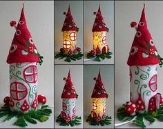 Fairy Haus, Teelichthalter, Fliegenpilz, Nachttischlampe, Nachtlicht, Handarbeit, Wolle, Filz, Lichterkette, Waldorf inspirierte