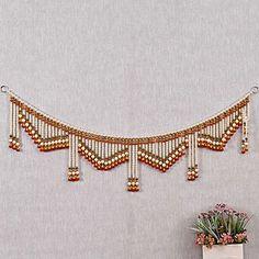 Traditional Handmade Pearl Door Hanging Toran Online Diwali Decoration Items, Diwali Decorations At Home, New Rangoli Designs, Small Rangoli Design, Diwali Candles, Door Hanging Decorations, Diwali Craft, Crystal Bead Necklace, Beaded Crafts
