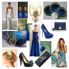 great ideas for my peacock theme wedding...the one shoulder dress is my fave!