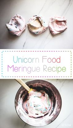 Unicorn meringue! This recipe is easy to make, but still super impressive for any fun party you've got going on! Crisp little rainbow-swirled meringue nests are filled with a sweet and sticky jam cream and decorated with shimmering glitter, sprinkles, popping candy and edible rose petals.  Recipe and how-to here: http://www.ehow.com/how_12343354_unicorn-food-rainbow-meringue-recipe.html?utm_source=pinterest.com&utm_medium=referral&utm_content=freestyle&utm_campaign=fanpage