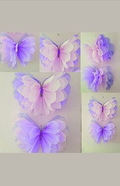 "Four 14"" girls birthday party decorations tissue paper wall butterflys  bedroom wedding sweet 16 baby shower wall hangings"
