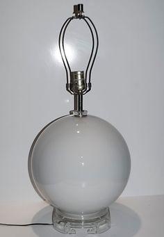 Retro Vintage MCM Geometric Gray Glass Round Table Lamp Clear Lucite Base  #RetroVintageMCMGeometric