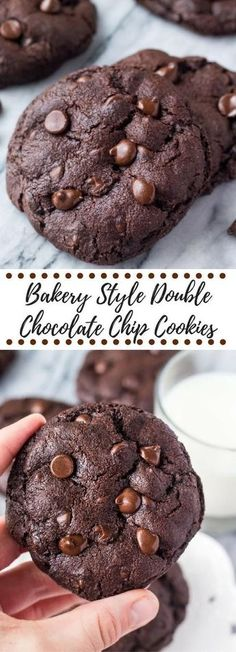 These bakery style double chocolate chip cookies are fudgy, gooey, gigantic and just about everything you could ever want in a cookie. Especially if you're a true chocolate lover like me. The cookies are made Chocolate Banana Muffins, Double Chocolate Chip Cookies, Chocolate Christmas Cookies, Chocolate Cookie Recipes, Cherry Cookies, Cranberry Cookies, Banana Cupcakes, Just Desserts, Delicious Desserts