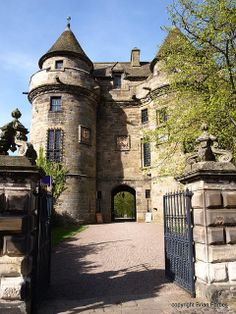 Falkland Palace was built by the Moray and or the Royal Stuart dynasties of the Scottish Monarchy.  It was used as a summer hunting lodge and conference centre (sic). Queen Mary frequented this area called The Kingdom as did an earlier monarch Robert The Bruce. Many of the newer buildings in Falkland have marriage lintels with dates between 1605 and 1745.