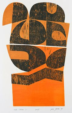 wall totem 3 - woodcut & stencil print by peter green, 1969