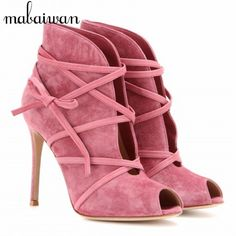 83.00$ Buy now - Fashion Suede Tie Up Women Ankle Boots Peep Toe Short Booties Strappy High Heel Summer Boots Women Pumps Botines Mujer #aliexpressideas