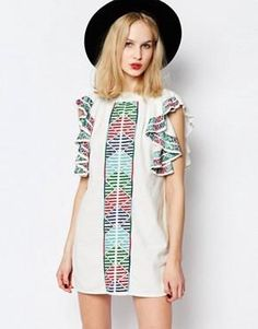 Piper Bogo Embroidered Dress with Ruffle Sleeves
