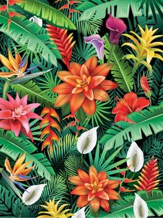 Buy Background From Tropical Flowers by on GraphicRiver. Background from tropical flowers and leaves Tropical Fabric, Tropical Design, Tropical Art, Tropical Flowers, Lotus Flower Wallpaper, Tropical Wallpaper, Flower Backgrounds, Bloom Blossom, Motif Floral