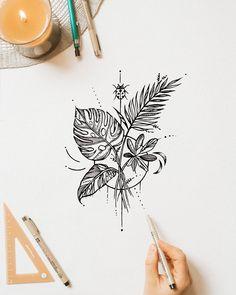 Line Art Tattoos, Time Tattoos, Body Art Tattoos, New Tattoos, Small Tattoos, Tattoo Art, Tropical Tattoo, Natur Tattoos, Handpoke Tattoo
