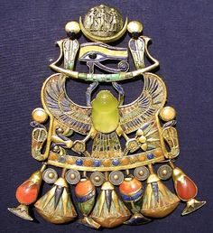 The ancient pectoral pictured at left belonged to Tutankhamun, and the yellow scarab is carved from Libyan Desert Glass, giving this striking meteoritic material a unique link to Egypt and to humanity's distant past. Ancient Egypt, Ancient History, Aliens, King Tut Tomb, Modern Egypt, Long Pearl Necklaces, Gold Necklace, Desert Glass, Minerals