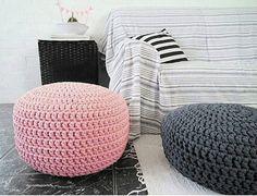 Grey Pouf Ottoman Footstool Floor Cushion Crochet Pouffe Kids Pouf Nursery  Decor Knit Pouf Floor Pillow Chunky Ottoman Stuffed Pouf Unstuffed Pouf:u2026