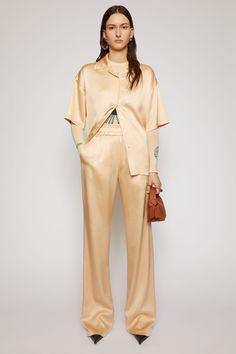 Satin trousers Satin Trousers, Trousers Women, Women's Trousers, Acne Studios, Marketing Direct, Pale Orange, Studio S, Pants Outfit, Legs