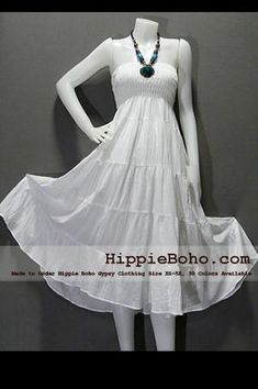 - Boho Hippie Hippie Halter White Sundress or Peasant Maxi Tiered Long Skirt Full Length Plus Size Women's Clothing Product description Material : Gauze Cotton Length : Lining : Lining included. Size : and Color : More than 30 colors available. Beach Dresses Online, Plus Size Beach Dresses, Plus Size Sundress, White Sundress, Plus Size Outfits, Flowy Beach Dress, Resort Wear Dresses, Bohemian Style Clothing, Elegant Clothing