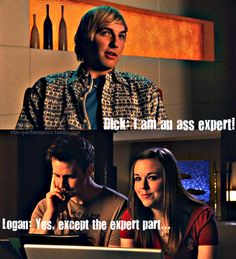 "Dick: ""I am a ass expert."" Logan: ""Yeah, except the expert part."" ~~ Logan working with Mac on the 'Ass' website.  Too cute!"