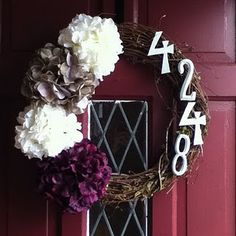 Love the house number. Great idea! Obsessed with wreaths right now!