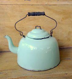 Large Green Enamel Tea Kettle Farmhouse Vintage Enamelware Gooseneck Spout Graniteware on Etsy, Sold