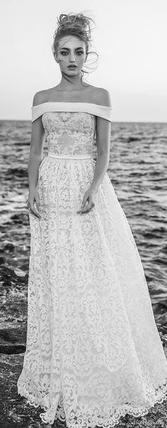 dany mizrachi 2018 bridal off the shoulder straight across neckline full embellishment romantic a line wedding dress sweep train (15) mv -- Dany Mizrachi 2018 Wedding Dresses