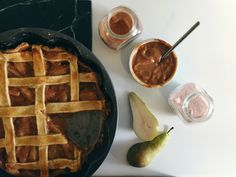 Spiced Pear and Caramel Pie - Full Recipe on Happy & Hygge