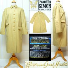 """Vintage 60's FRANKLIN SIMON New York Rain Coat. """"Buoy Cloth"""" Automatic Wash 'N Wear - 2 Ply Warp & Fill - Poly/Dacron & Combed Cotton - Stain & Rain Repellent. Extremely Well Made! WEAR IN GOOD HEALTH! Size 10 Petite. RARE!  $124   SOLD"""