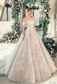 tony ward mariee 2019 off the shoulder straight across neckline full embellishme. , tony ward mariee 2019 off the shoulder straight across neckline full embellishment romantic princess blush ball gown a line wedding dress royal train . Tony Ward Wedding Dresses, Tony Ward Bridal, Best Wedding Dresses, Bridal Dresses, Dress Wedding, Trendy Wedding, Wedding Dress Princess, Wedding Dressses, Wedding Ideas