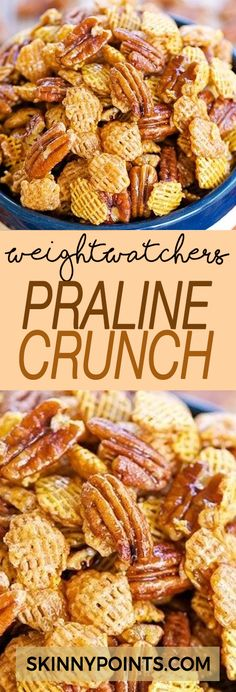 This Praline Crunch should come with a warning label! It is HIGHLY addictive! We both had zero self-control around this yummy Praline Crunch. Sweet and salty goodness in every bite! 10 SP per serving Weight Watcher Desserts, Plats Weight Watchers, Weight Watchers Snacks, Weight Watchers Smart Points, Weight Watcher Cookies, Weight Watchers Casserole, Healthy Snacks, Healthy Eating, Healthy Recipes