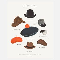 Hat Collection Print, $21, now featured on Fab. gouache painting print.