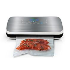 Vacuum Sealer By NutriChef Automatic Vacuum Air Sealing System For Food Preservation w Starter Kit Compact Design Lab Tested Dry Moist Food Modes Led Indicator Lights Silver Design Lab, Food Shelf Life, Food Temperatures, Burnt Food, Freezer Burn, Best Vacuum, New Cooking, Easy Cooking, Vacuum Sealer